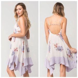 FP-Sweet Faded Blooms Asymmetrical Hem Slip Dress